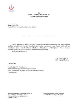Döner Sermaye Komisyon Üye Seçimi