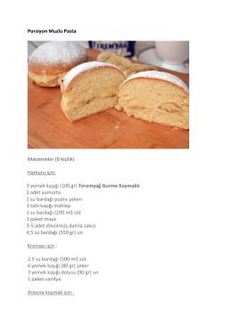 Porsiyon Muzlu Pasta Malzemeler (9 kişilik) Hamuru için: 3 yemek