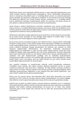 ODAŞ Enerji 2015 Yılı Özet Strateji Belgesi