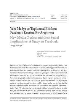 Yeni Medya ve Toplumsal Etkileri: Facebook Üzerine Bir