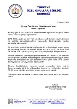 Basın Duyurusu - Türkiye Özel Okullar Birliği Derneği