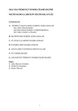 2014 yılı öğrenci temsilcileri seçimi seçim kurulları için seçim