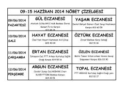 09-15 haziran 2014 nöbet çizelgesi çıktısı için tıklayınız