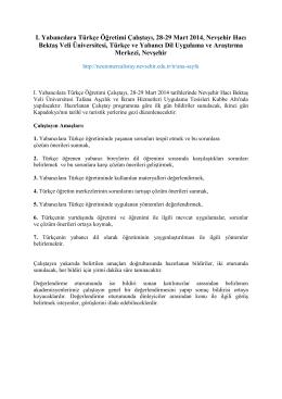 ı. yabancılara türkçe öğretimi çalıştayı, 28
