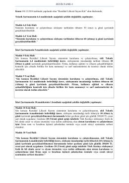 ZEYİLNAME-1 Konu: 04.12.2014 tarihinde yapılacak