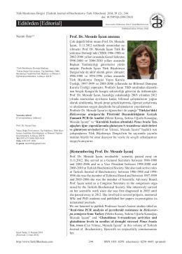 244 - Türk Biyokimya Dergisi