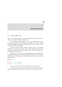 Mantıksal İşlemler 7.1 true, false, nil