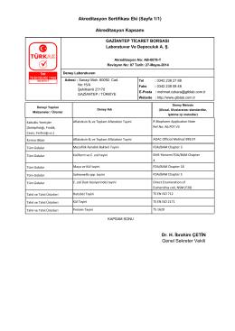 Akreditasyon Sertifikası Eki (Sayfa 1/1) Akreditasyon Kapsamı Dr. H