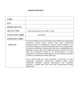 AÇIKLAYICI BİLGİ NOTU 415 Sıra Numaralı Vergi Usul Kanunu
