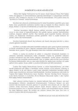 10 Ekim Bilgi Notu - Tekirdağ Halk Sağlığı Müdürlüğü