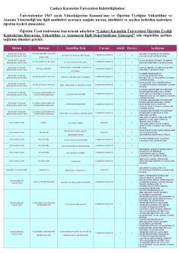 Çankırı Karatekin Üniversitesi Rektörlüğünden: Üniversitemize 2547