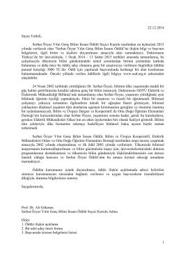 1 22.12.2014 Sayın Yetkili, Serhat Özyar Yılın Genç Bilim
