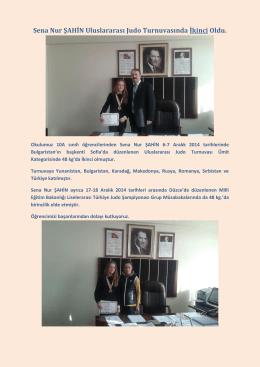 Öğrencimiz Sena Nur Şahin´den Uluslararası Başarı