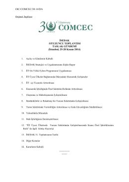 OIC/COMCEC/30-14/DA İSEDAK OTUZUNCU TOPLANTISI