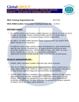 IRCA Onaylı OHSAS 18001 Baş Denetçi