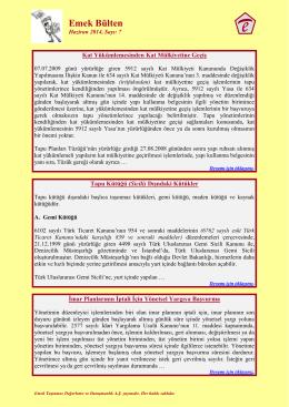 Emek Bülten - Emek Taşınmaz Değerleme ve Danışmanlık A.Ş.