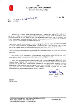 Süt İzni - Hacettepe Üniversitesi Personel Dairesi Başkanlığı