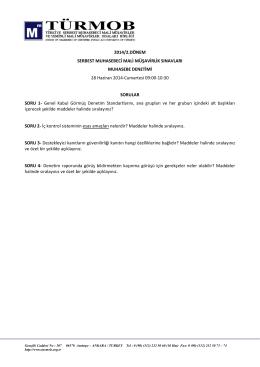 2014/2.DÖNEM SERBEST MUHASEBECİ MALİ