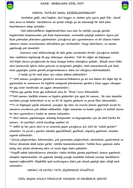 ANNE- BABALARA ÖZEL NOT: YARIYIL