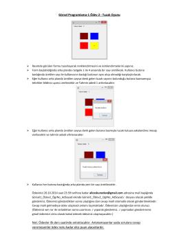 Görsel Programlama-1 Ödev 2 - Tuzak Oyunu Not: Ödevler ilk ders