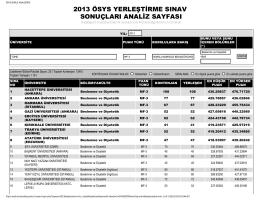 2013 ösys yerleştirme sınav sonuçları analiz sayfası