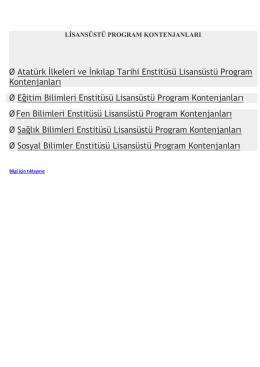 Ø Atatürk İlkeleri ve İnkılap Tarihi Enstitüsü Lisansüstü Program