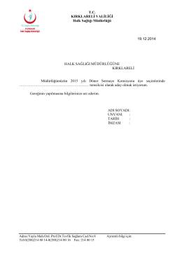 Döner Sermaye Komisyonu Aday Dilekçesi