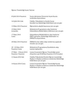 Öğrenci Temsilciliği Seçim Takvimi 8 Eylül 2014 Pazartesi Seçim