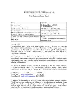 Yatırımcı İlişkileri Bölümü Sorumluları İletişim Bilgileri