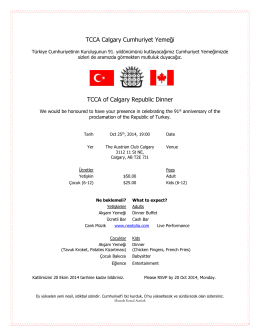 TCCA Calgary Cumhuriyet Yemeği TCCA of Calgary Republic Dinner
