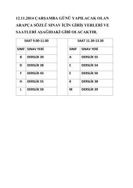 12.11.2014 çarşamba günü yapılacak olan arapça sözlü sınav için