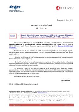 2014-64 SGK Alacaklarının 6552 Sayılı Kanunun Geçici 60 ıncı Md