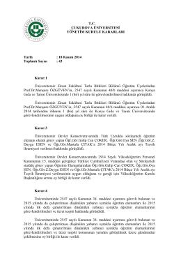 18.11.2014 Tarihli Yönetim Kurulu Kararları
