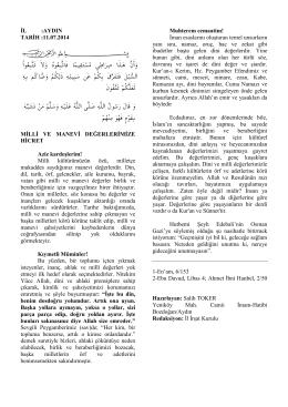 11.07.2014 - manevi değerlerimize hicret