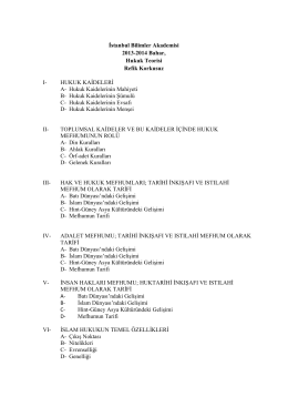 İstanbul Bilimler Akademisi 2013-2014 Bahar, Hukuk Teorisi