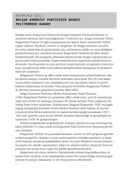 Bulgar Komünist Partisi Merkez Politbüro Kararı