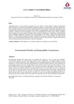 Çevre Ahlakı Ve Sorumluluk Bilinci Environmental