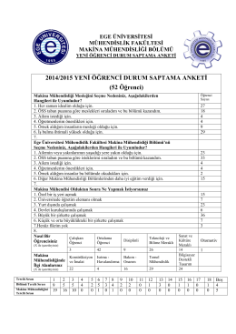 2014/2015 YENİ ÖĞRENCİ DURUM SAPTAMA ANKETİ