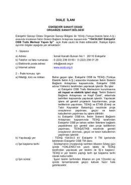ihale ilanı - Eskişehir Organize Sanayi Bölgesi