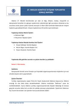 27. Komite Toplantı Sonuç Raporu