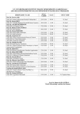 2013-2014 Güz Yarıyılı Bütünleme Sınav Programı