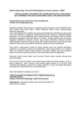 İstanbul - 335591 TASFİYE HALİNDE YAPI KREDİ B TİP