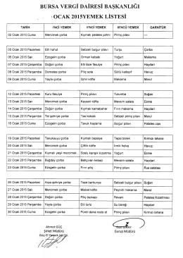 bursa vergi dairesi başkanlığı ocak 2015yemek listesi