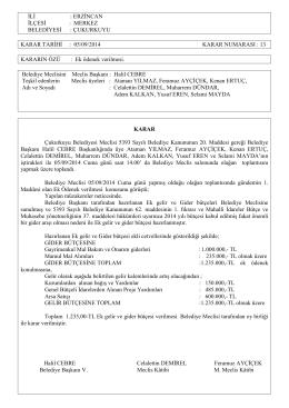 Eylül Ayı Meclis Kararları - Erzincan Çukurkuyu Belediyesi