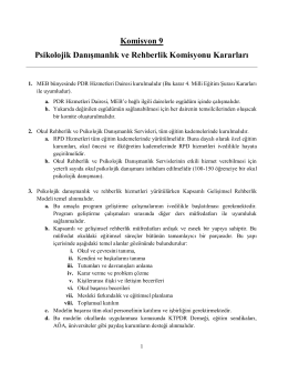 Komisyon 9 Psikolojik Danışmanlık ve Rehberlik Komisyonu Kararları
