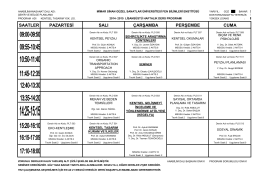 2014 – 2015 Güz Yarıyılı Ders Programı