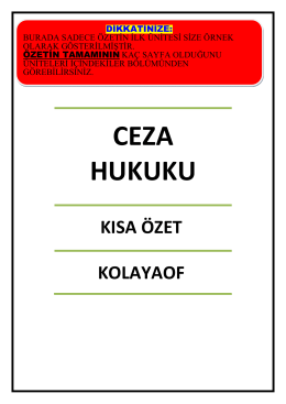 CEZA HUKUKU - kolay aof