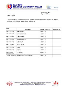 25.11.2014 TONER ve KIRTASİYE ALIMI