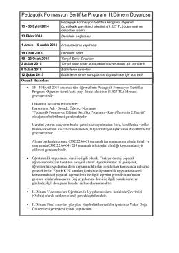 Pedagojik Formasyon Sertifika Programı II.Dönem Duyurusu