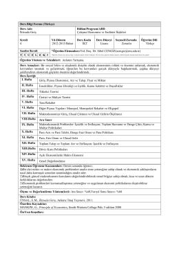 Ders Bilgi Formu (Türkçe) Ders Adı: İktisada Giriş Bölüm/Program